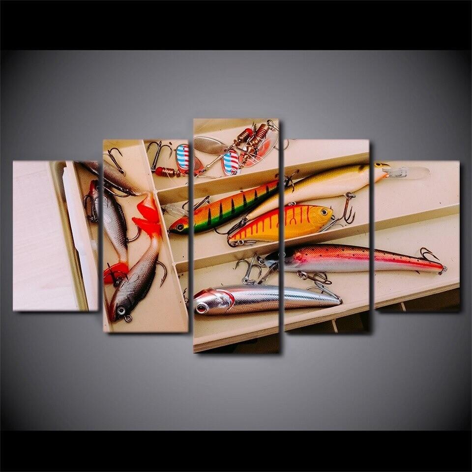 Artistic Fishing Hooks - 5 Panel Canvas Print Wall Art Set