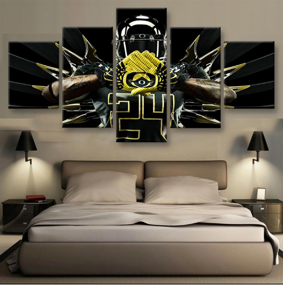 Oregon Ducks Combat American Football - 5 Panel Canvas Print Wall Art Set