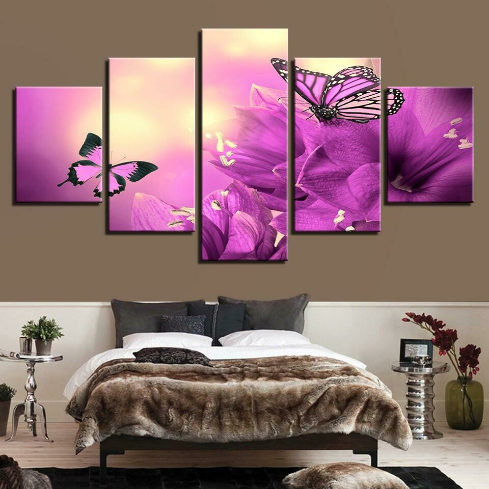 Beautiful Purple Flowers Butterflies - 5 Panel Canvas Print Wall Art Set