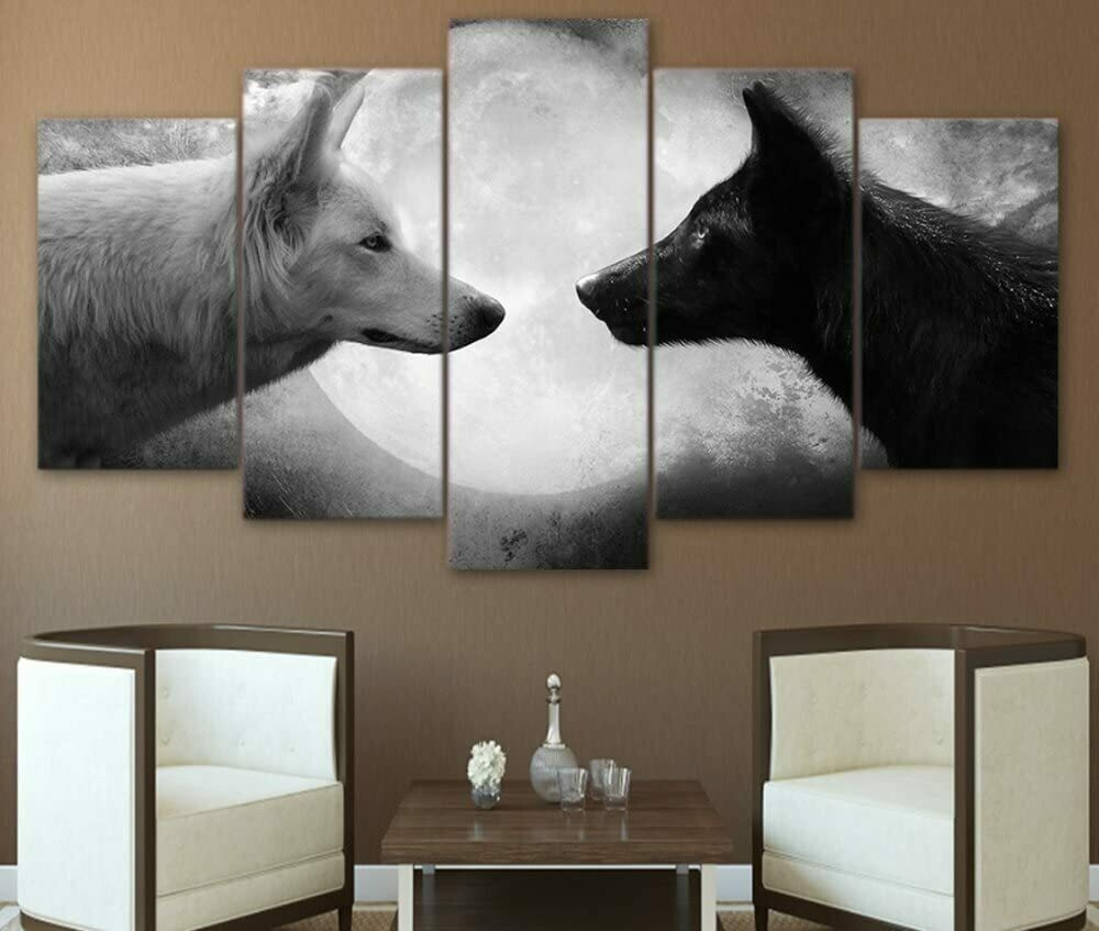 Black and White Wolf - 5 Panel Canvas Print Wall Art Set