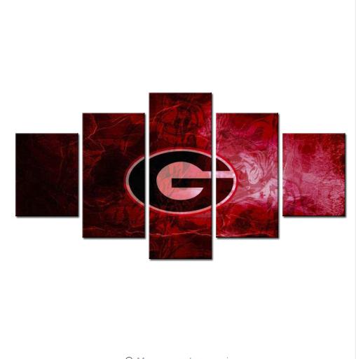 Georgia Bulldogs Football Team - 5 Panel Canvas Print Wall Art Set
