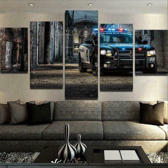 Police Car - 5 Panel Canvas Print Wall Art Set