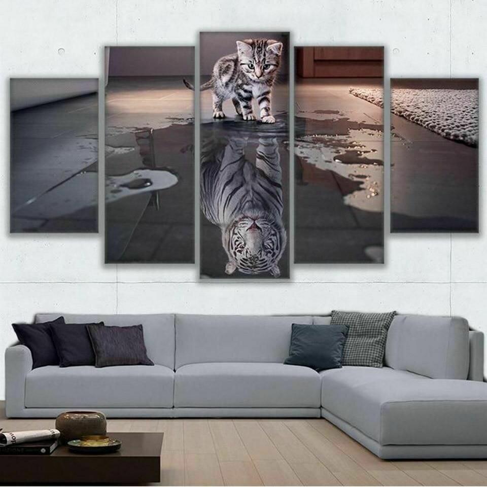 Cat Reflection Tiger - 5 Panel Canvas Print Wall Art Set