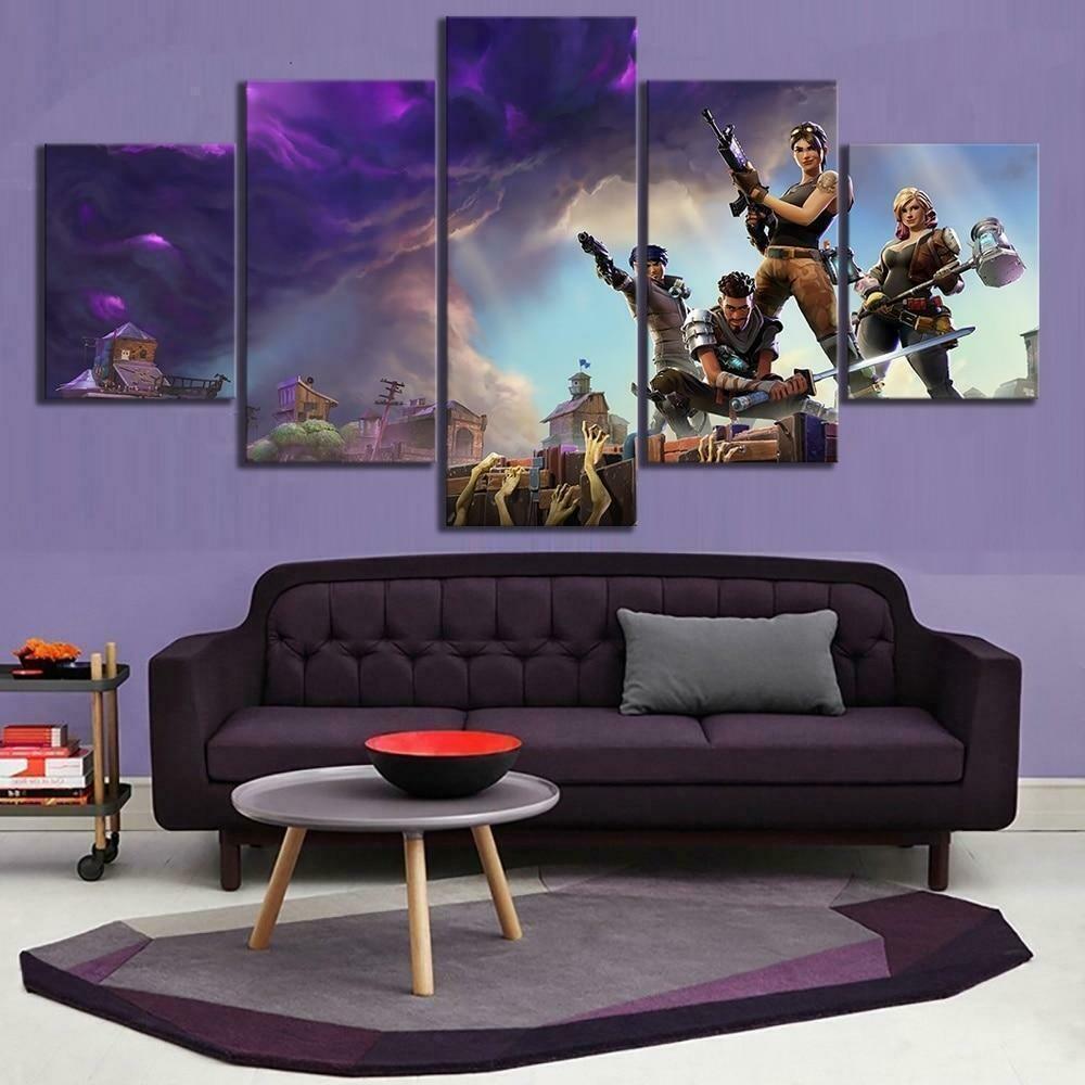 Characters Zombies Fortnite - 5 Panel Canvas Print Wall Art Set