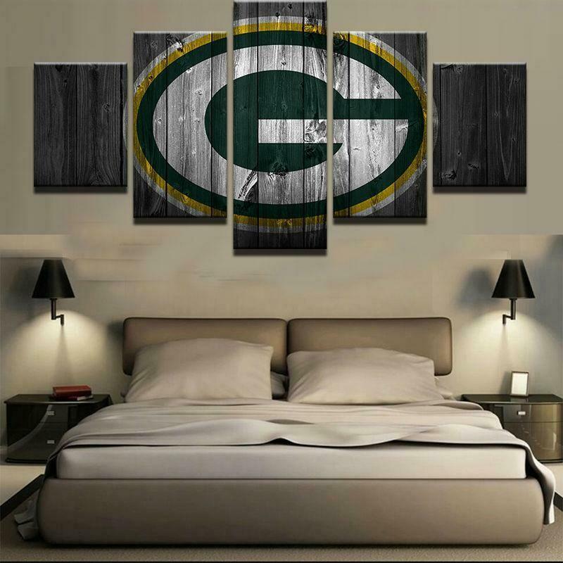 Green Bay Packers Football Barn Wood - 5 Panel Canvas Print Wall Art Set
