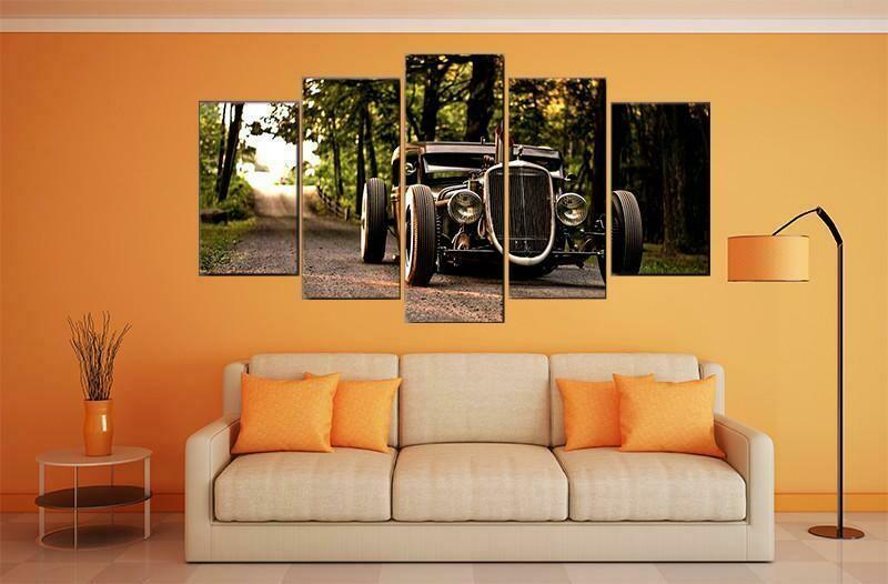 Classic Black Hot Rod - 5 Panel Canvas Print Wall Art Set