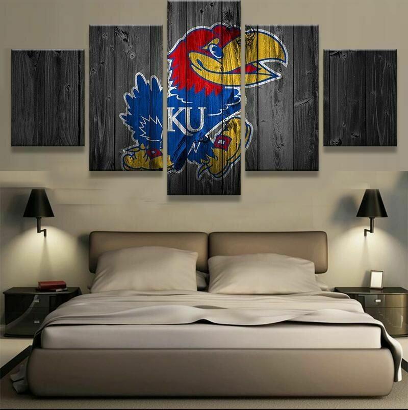 Kansas Jayhawks - 5 Panel Canvas Print Wall Art Set