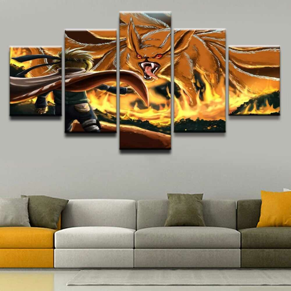 Kurama Naruto Uzumaki Nine -Tails - 5 Panel Canvas Print Wall Art Set