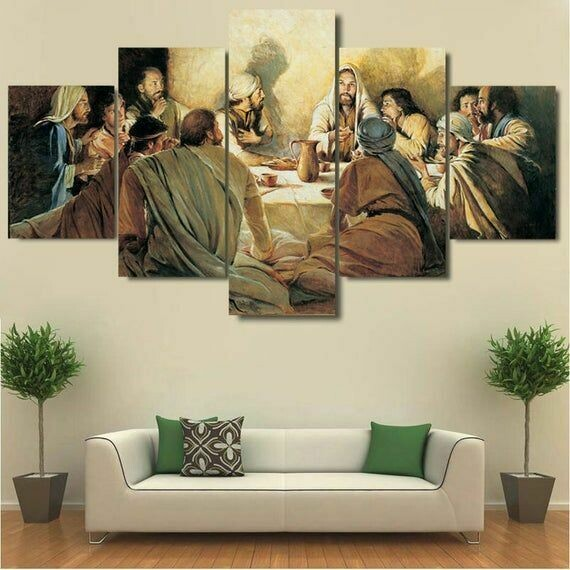 Last Supper Jesus and Disciples - 5 Panel Canvas Print Wall Art Set