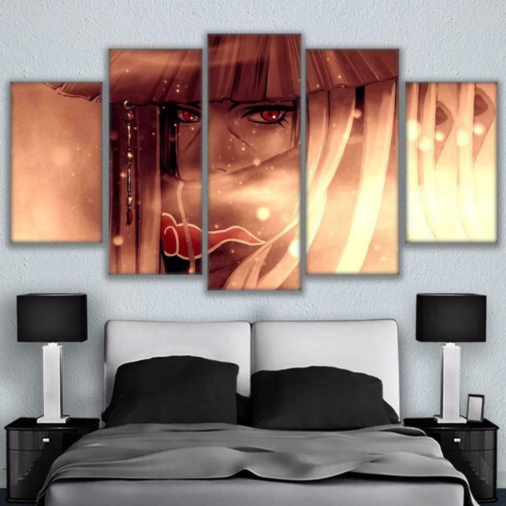 Naruto Anime Abstract - 5 Panel Canvas Print Wall Art Set
