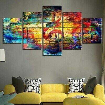 Abstract Musical Notes - 5 Panel Canvas Print Wall Art Set