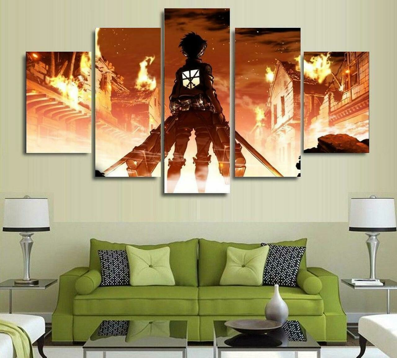 Attack On Titan Eren Yeager - 5 Panel Canvas Print Wall Art Set