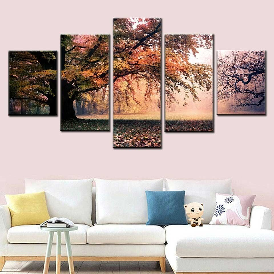 Autumn Tree Fores - 5 Panel Canvas Print Wall Art Set