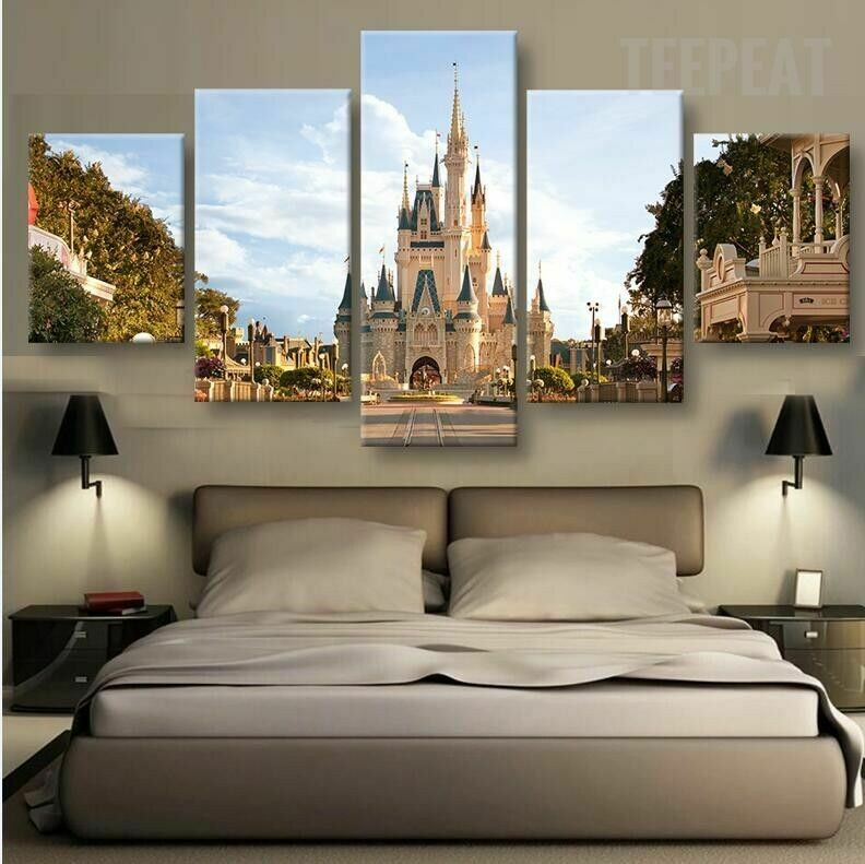 Disney In Day Time - 5 Panel Canvas Print Wall Art Set
