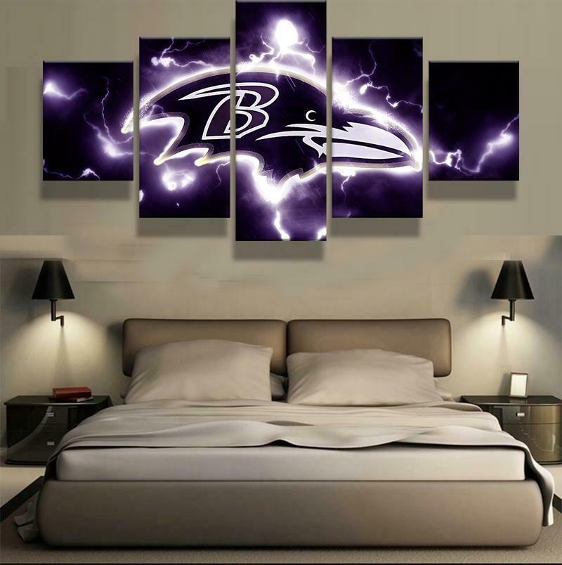 Baltimore Ravens Logo - 5 Panel Canvas Print Wall Art Set