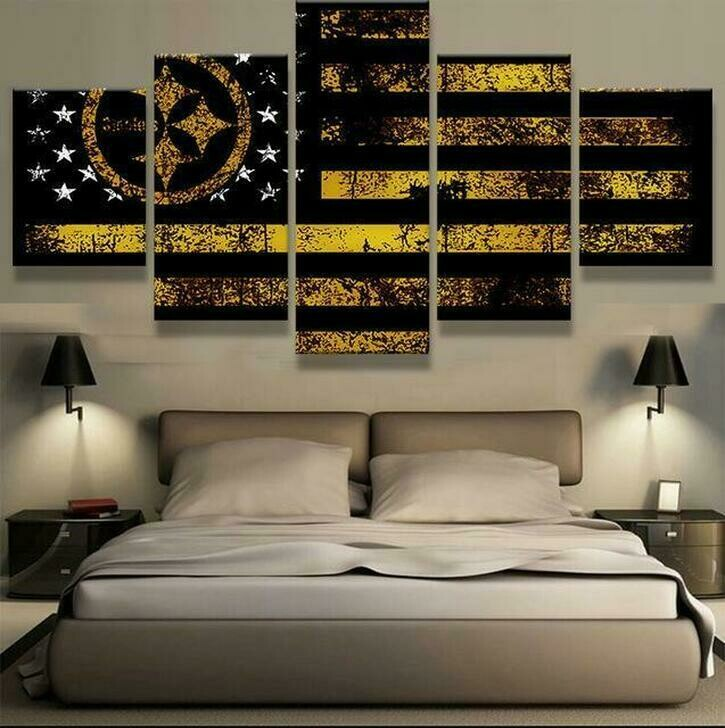 Pittsburgh Steelers Flag - 5 Panel Canvas Print Wall Art Set
