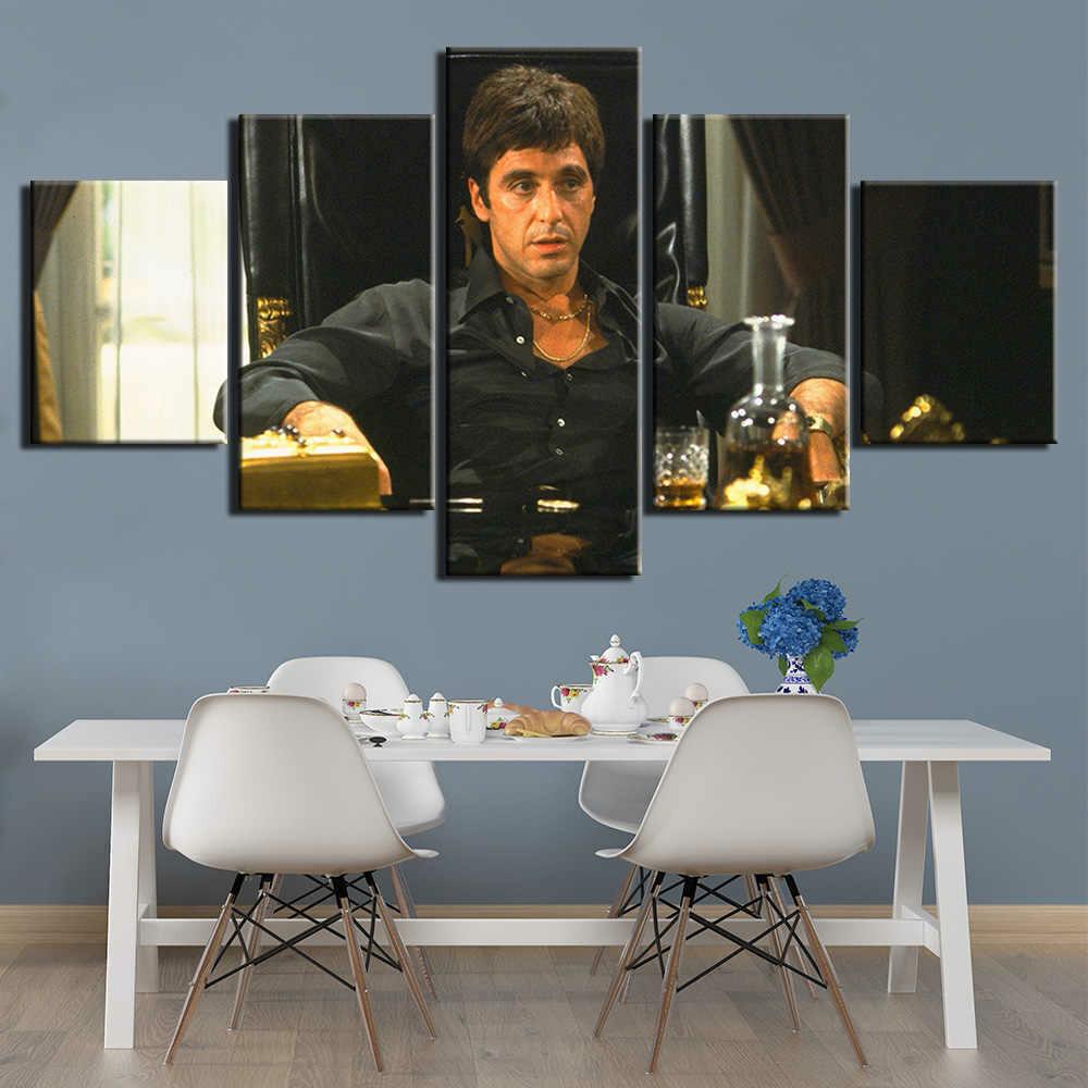 Scarface Tony Montana's Back Movie - 5 Panel Canvas Print Wall Art Set