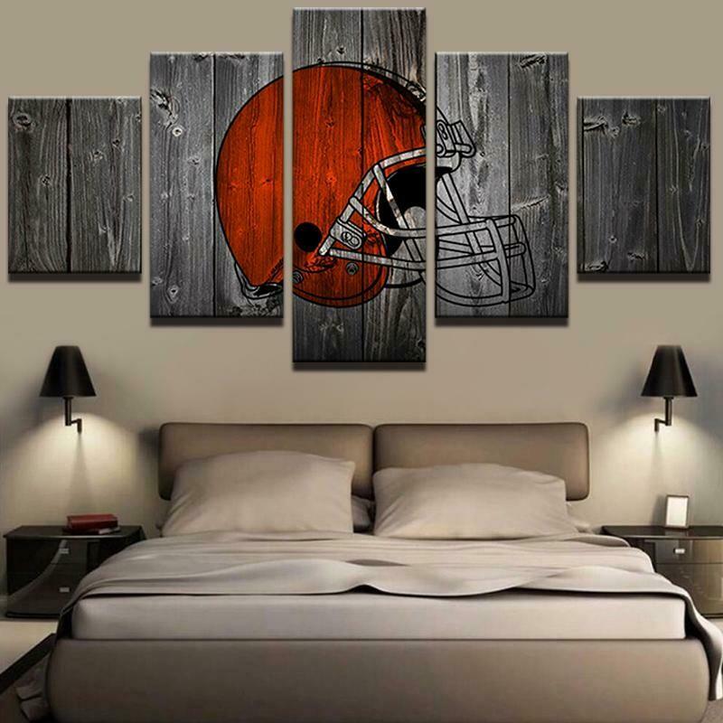 Cleveland Browns American Football - 5 Panel Canvas Print Wall Art Set