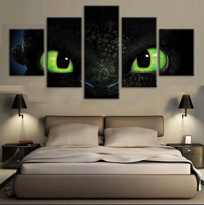 How To Train Your Dragon Black Dragon Movie - 5 Panel Canvas Print Wall Art Set