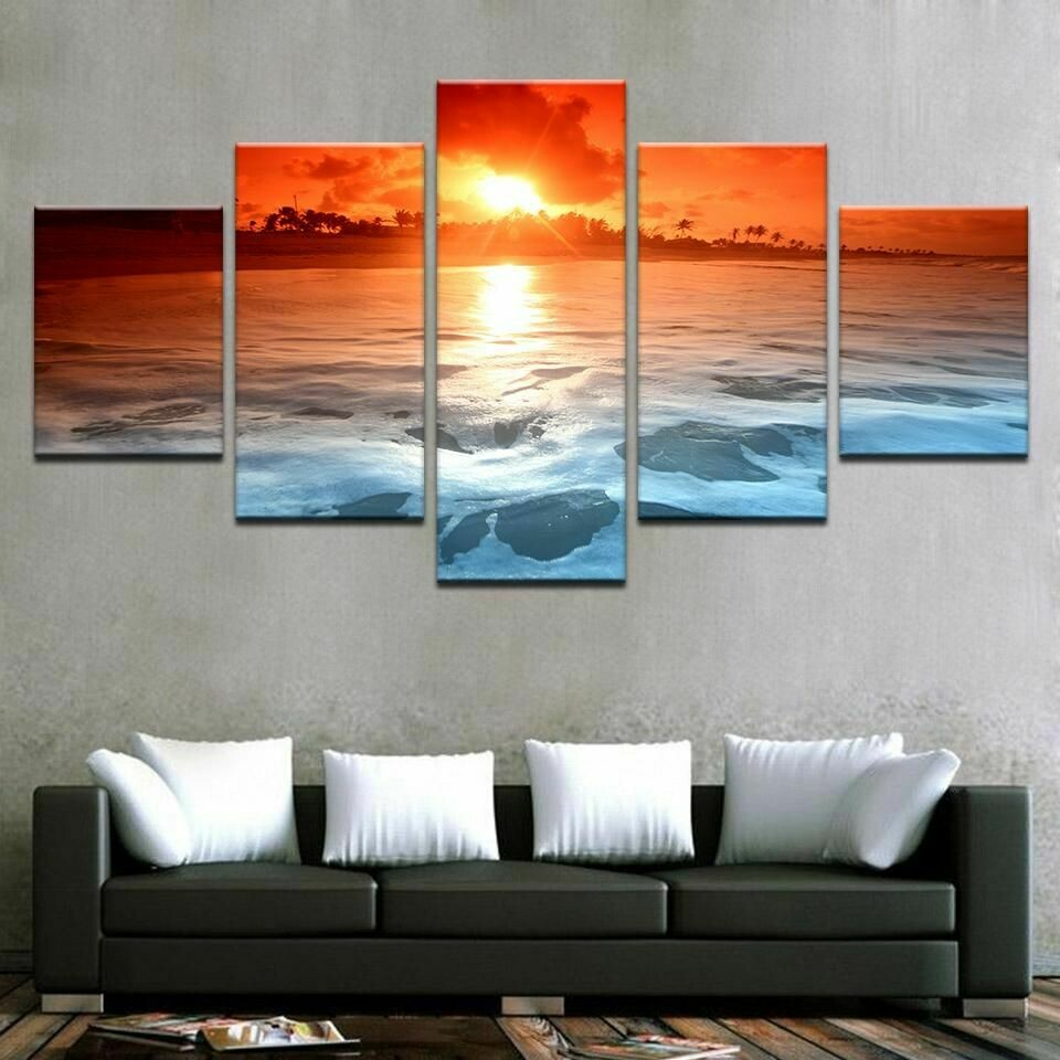Sunset Ocean Beach Sea Waves Seascape - 5 Panel Canvas Print Wall Art Set