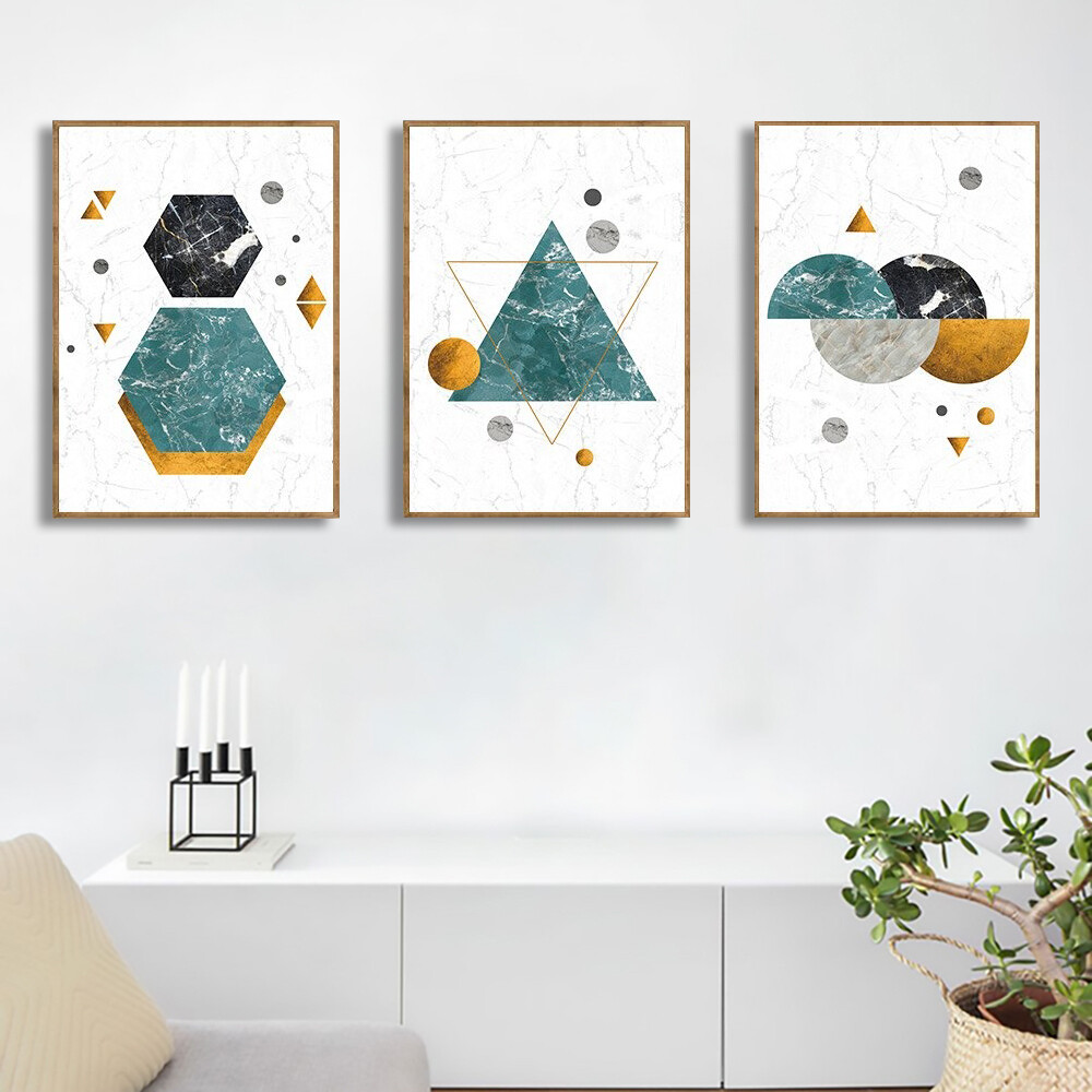 Abstract Geometry Marble Canvas Wall Art
