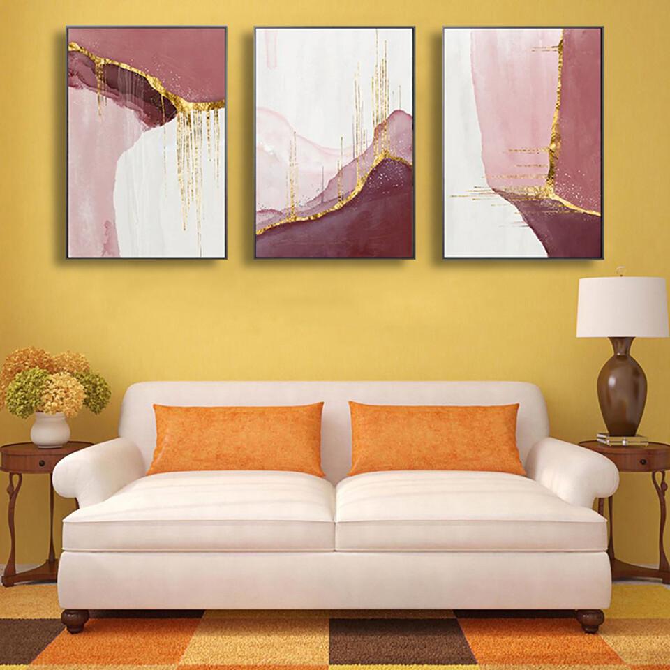 Abstract Golden Pink Canvas Wall Art