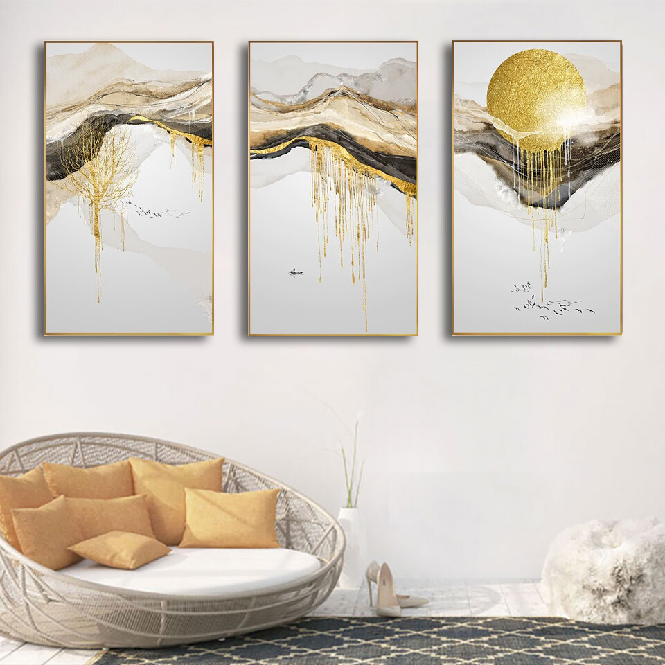 Abstract Golden Sun Canvas Wall Art