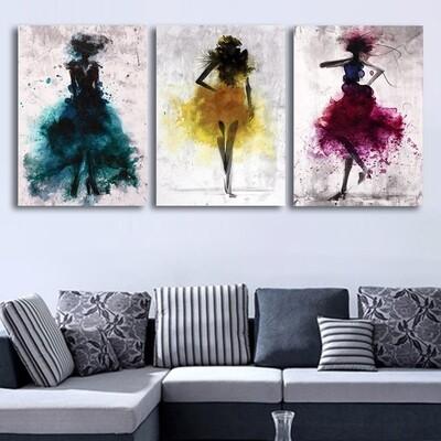 Abstract Women Dancing Dress Canvas Wall Art