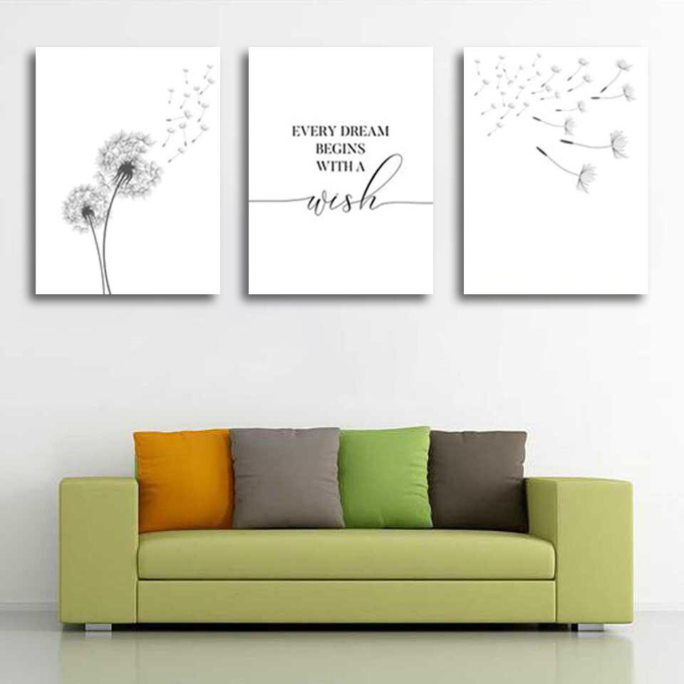 Make Wish Dandelion Canvas Wall Art