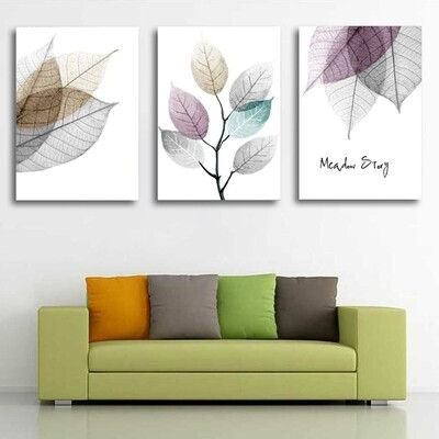Simple Small Fresh Leave Canvas Wall Art