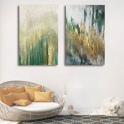 Abstract Green Yellow Canvas Wall Art