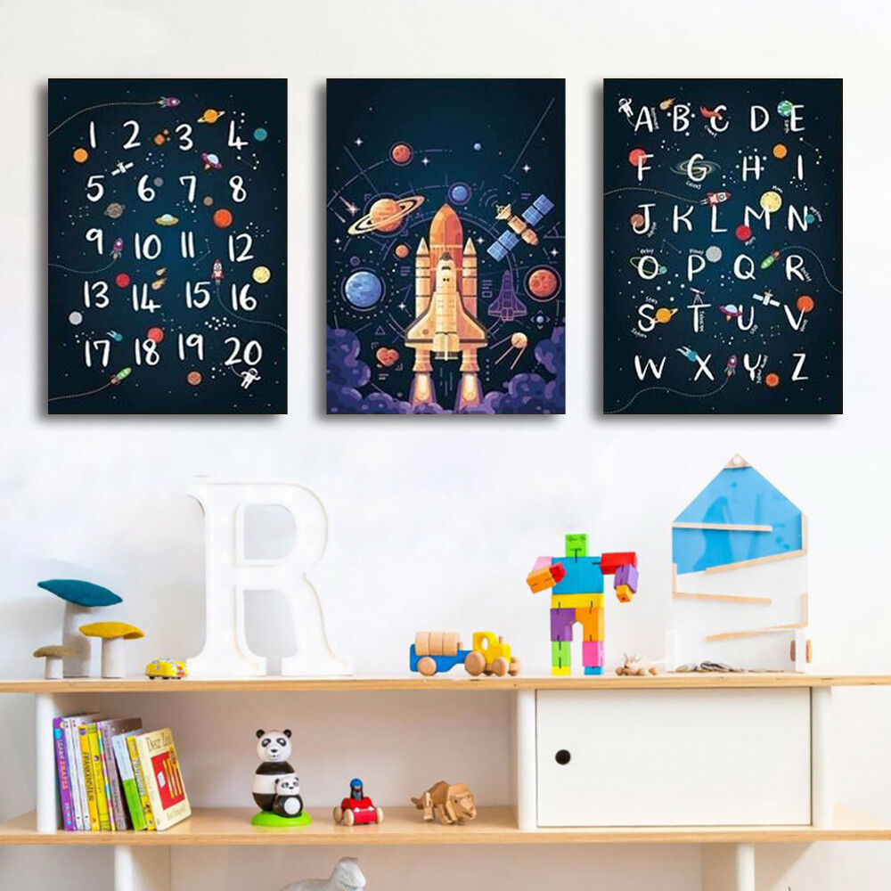 Space Wall Decoration Print Alphabet Quotes Canvas Wall Art
