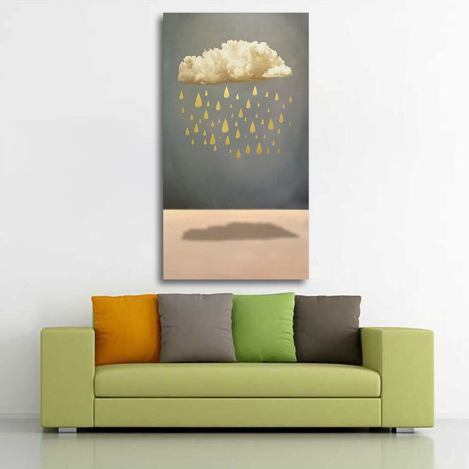 New Chinese Style 5 Gold Boat Canvas Wall Art