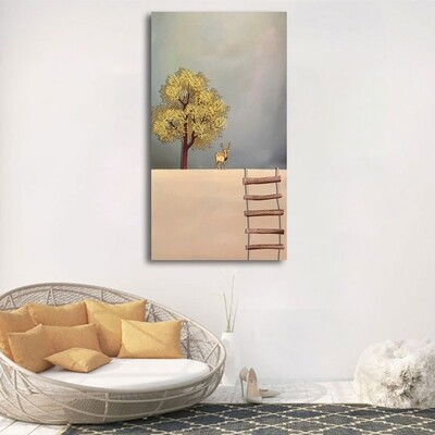 New Chinese Style 6 Gold Boat Canvas Wall Art