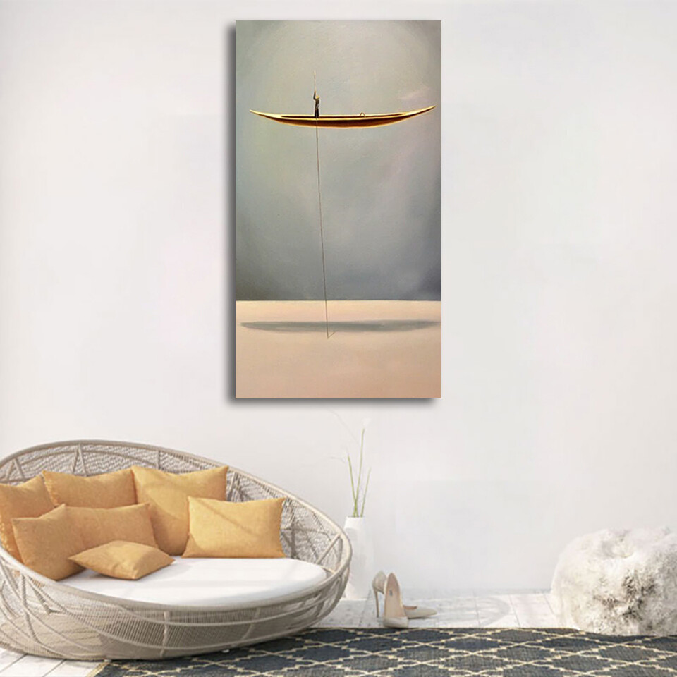 New Chinese Style 1 Gold Boat Canvas Wall Art