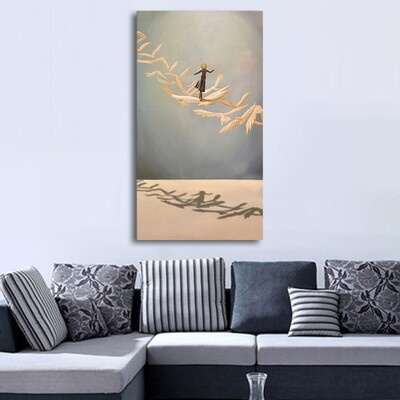 New Chinese Style 3 Gold Boat Canvas Wall Art