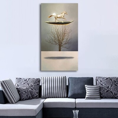 New Chinese Style 7 Gold Boat Canvas Wall Art