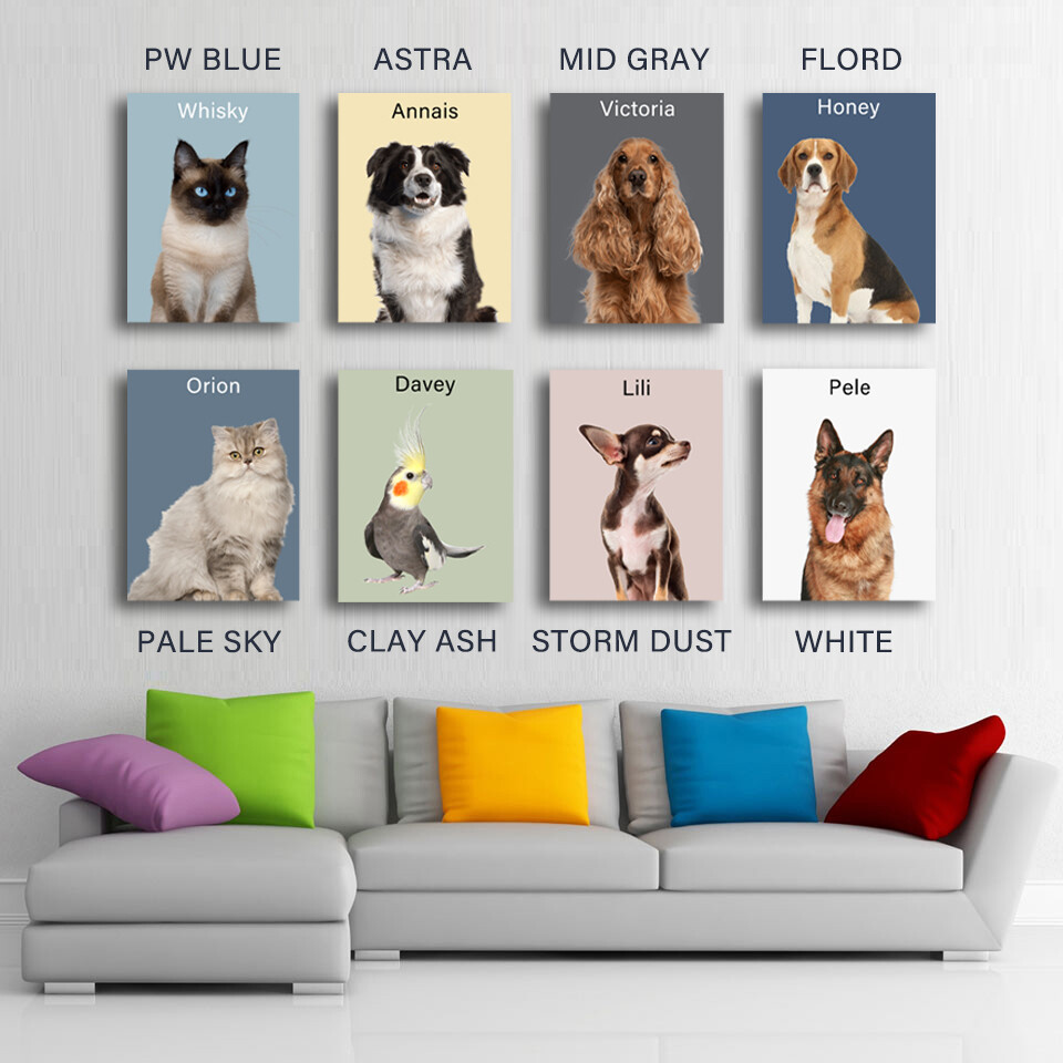 Framed Custom One Pet Portrait Canvas Prints Wall Art