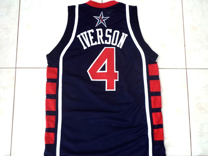 Allen Iverson #4 Team USA Basketball Jersey Navy Blue