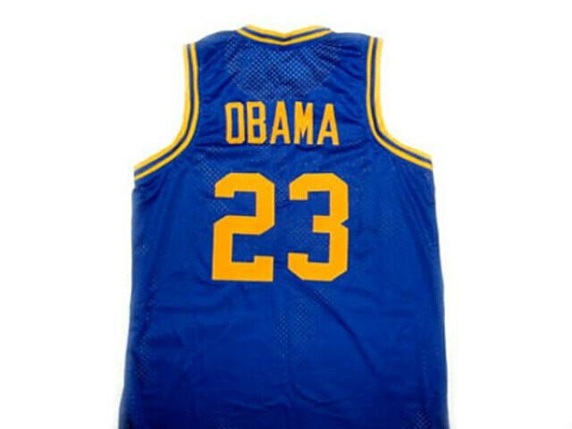 Barack Obama #23 Punahou High School Basketball Jersey Blue