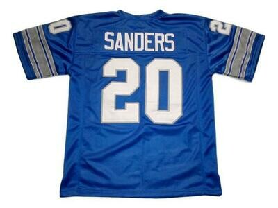 Barry Sanders CUSTOM STITCHED Unsigned Football Jersey Blue