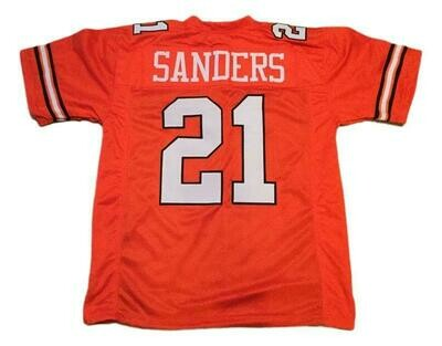 Barry Sanders CUSTOM STITCHED Unsigned Football Jersey Orange