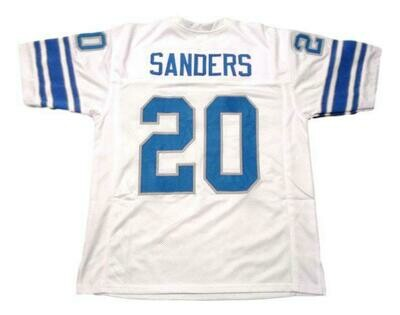 Barry Sanders CUSTOM STITCHED Unsigned Football Jersey White