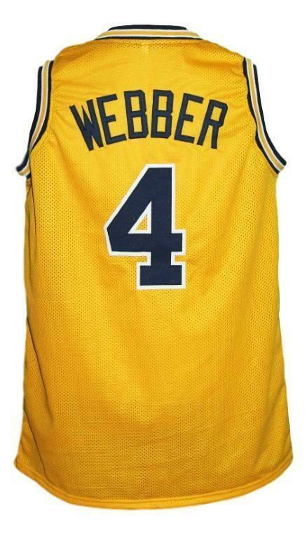 Chris Webber #4 Custom College Basketball Jersey New Sewn Yellow
