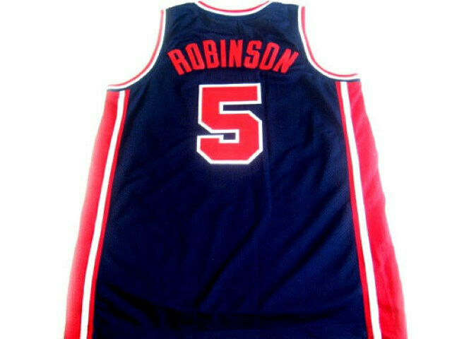David Robinson #5 Team USA Basketball Jersey Navy Blue