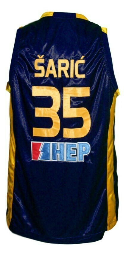 Dario Saric #35 KK Zagreb Croatia Basketball Jersey New Sewn Navy Blue