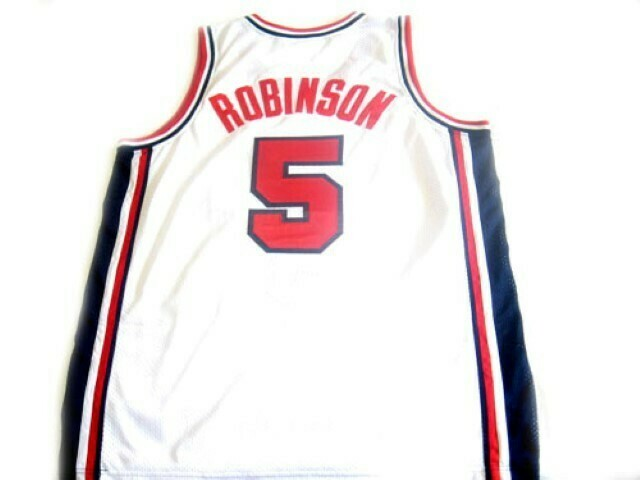 David Robinson #5 Team USA BasketBall Jersey White