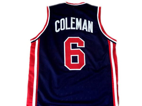 Derrick Coleman #6 Team USA Basketball Jersey Navy Blue