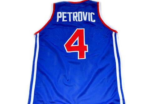 Drazen Petrovic #4 Jugoslavija Basketball Jersey Blue