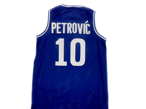 Drazen Petrovic #10 Cibona Croatia Basketball Jersey Blue